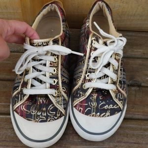 Coach Gold, Navy Blue and Maroon Sneakers
